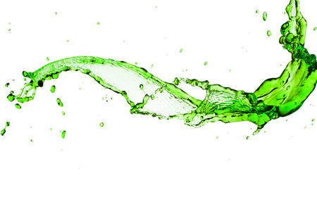 green water splash  on a white background. Foto de archivo