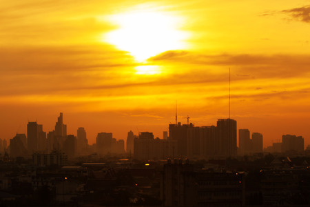 city scene: The morning light over the capital of Thailand. Stock Photo