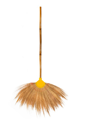 broom on a white background. Banque d'images