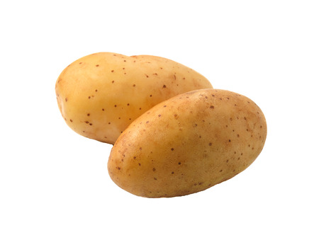 fingerling: fingerling potatoes on white background Stock Photo