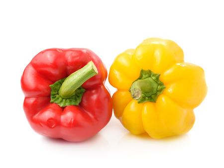 over white background: red pepper over white background