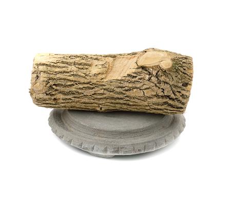 slabs: Thanaka wood and Kyauk Pyin stone slabs on white background Stock Photo