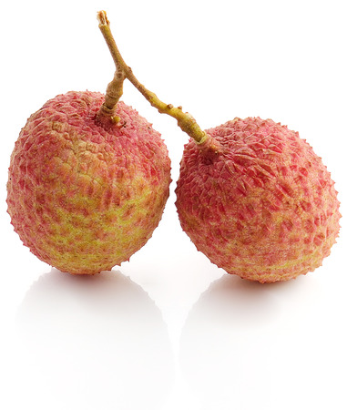 The lychee (Litchi chinensis) fruit, close up, macro, isolated. Genu Stock Photo