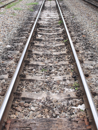 Rail track in perspective with wooden