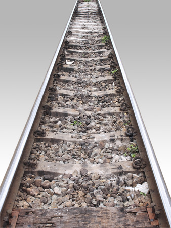 Rail track in perspective with wooden isolation on white