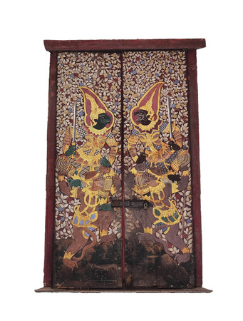 The unique Thai art on the door of Wat Suthat isolation on white , Bangkok, Thailand photo