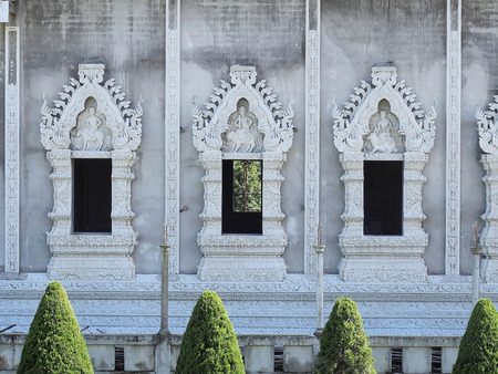 thaiart: Constructing Thai art windows in temple. Present in same level view Stock Photo