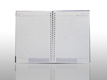 Notebook isolation on white with reflection