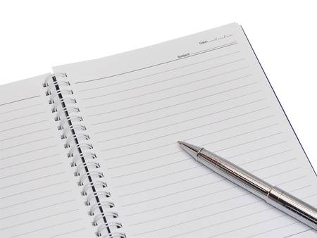 Notebook with silver pen isolation on white