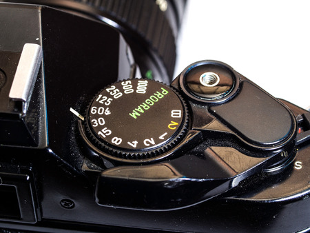 Dial of classic film camera isolation on white background