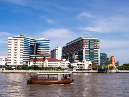 medical school: Siriraj hospital, the first and major hospital and medical school in Thailand, landmark view in Bangkok, under blue sky Stock Photo