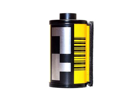 Used film badge isolation on white background 版權商用圖片