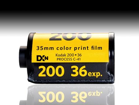 Used Kodak 200 film badge isolated on white background. In film photography era, Kodak film is the most favorite film for worldwide photographer. 版權商用圖片 - 32116807