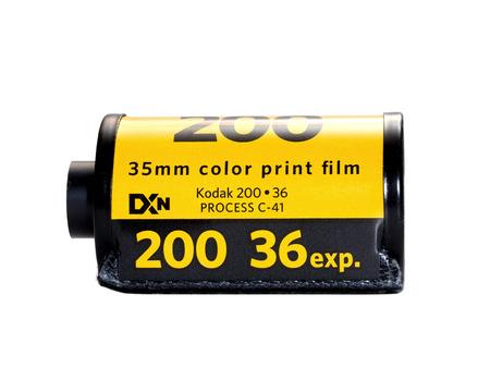 Used Kodak 200 film badge isolated on white background. In film photography era, Kodak film is the most favorite film for worldwide photographer.