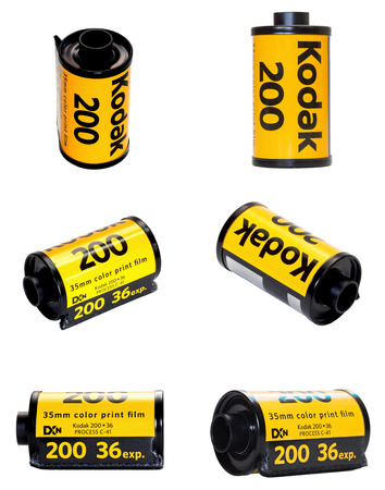 kodak: Kodak film 200 is classic camera 135 mm famous film. This image show it in 6 views dimension. Editorial