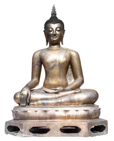 subduing: Thai art bronze in the attitude of subduing Mara buddhist statue isolated on white background