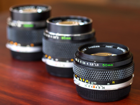 focal: CHIANGRAI - DECEMBER 4: The different focal length OM lenses are composed together in natural light exposure, was taken on December 4, 2014, in Chiangrai, Thailand.