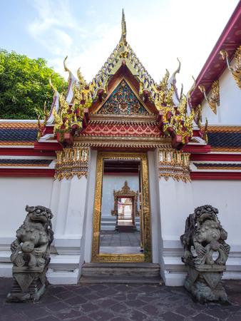 art door: Thai art door in Wat Pho (Temple of Reclining Buddha) in Bangkok, Thailand