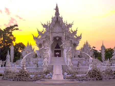 high dynamic range: White temple in high dynamic range in evening sky Stock Photo
