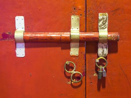 Beau Old Style Door Locking Inside Thai Temple Stock Photo   36173724