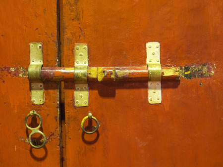 Old Style Door Locking Inside Thai Temple Stock Photo   36173725