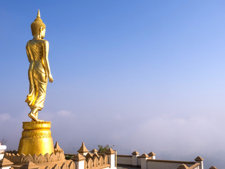 Walking large golden buddha statue is viewpoint of Nan, Thailand