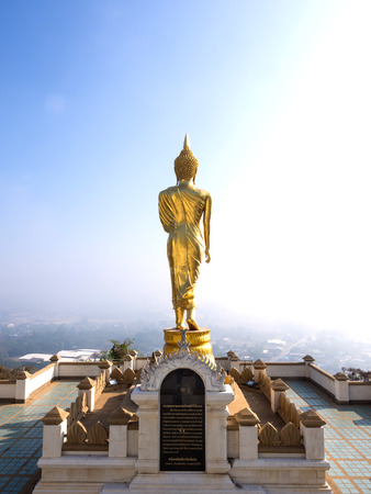 viewpoint: Walking large golden buddha statue is viewpoint of Nan, Thailand