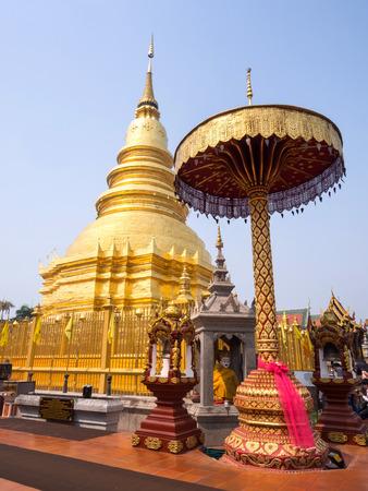 outstanding: Wat Phra That Hari Phun Chai in Lamphun is outstanding Northern Thai art in Thailand Stock Photo