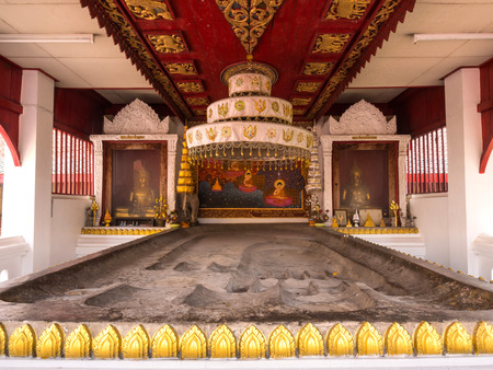 lord buddha: Lord Buddha footprint sculpture is respect place for Buddhism