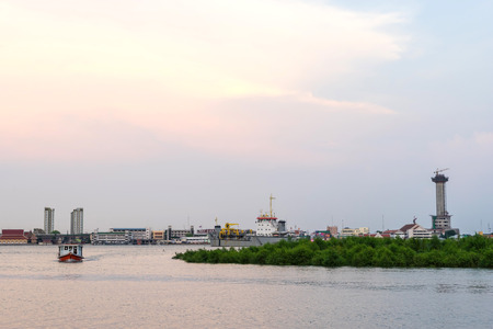 outflow: Chao Phraya river outflow under twilight evening sky