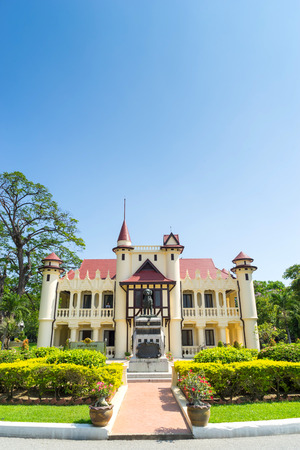 reign: Sanamchan palace in Nakornpathom, Thailand, was beautiful with contemporary art and was built in King Rama VI reign, under blue sky Editorial