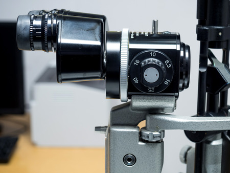 slit: BANGKOK - JULY 29: Haag-Streit slit lamp biomicroscope for eye examination in ophthalmologist office in hospital in Bangkok, Thailand, was taken on July 29, 2015. Editorial