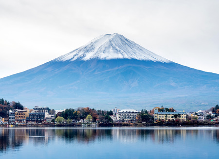 Fuji mountain with surrounding view under cloudy sky in Japan