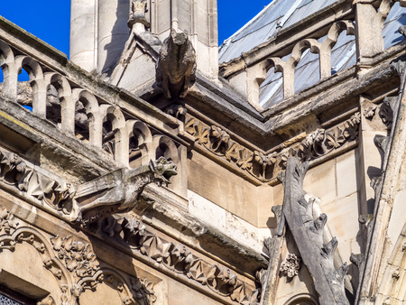 convey: PARIS - SEPTEMBER 28:  Gargoyle designed for convey water from roof to away from buildings, was taken on September 28,2015, in Paris, France. Editorial