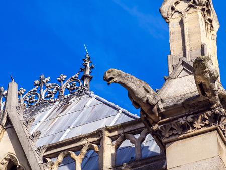 gargouille: PARIS - SEPTEMBRE 28: Gargouille con�u pour transporter de l'eau du toit au loin des b�timents, a �t� prise le Septembre 28,2015, � Paris, France.