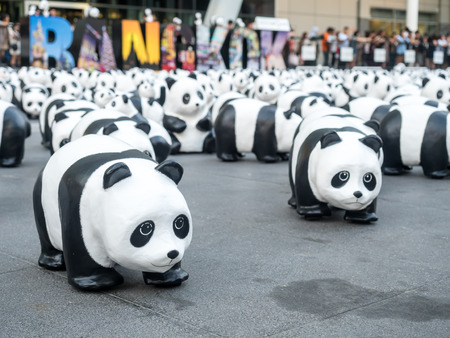 BANGKOK - MARCH 7: 1,600 pandas world tour, papier mache sculptures of pandas with recycled paper, exhibited at Central World shopping mall in Bangkok, Thailand, was taken on March 7, 2016.