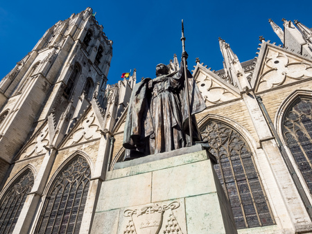 michael: Saint Michael and Saint Gudule Cathedral in Brussels, Belgium, under clear blue sky Stock Photo
