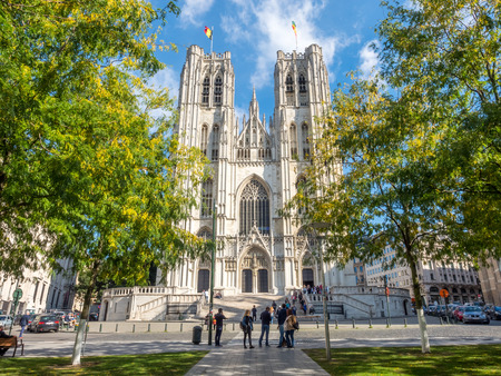 saint michael: Saint Michael and Saint Gudule Cathedral in Brussels, Belgium, under clear blue sky Editorial