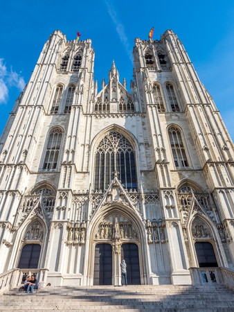 saint michael: Saint Michael and Saint Gudule Cathedral in Brussels, Belgium, under clear blue sky Stock Photo