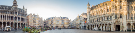 the world heritage: Panoramic view of World heritage old and classich buildings in Grand Place, center squre, in Brussels, Belgium, with morning light Editorial