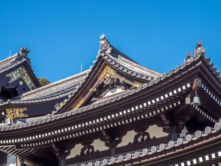japanese art: Japanese art church of Kase Dera Kannon buddhist temple in Kamakura city, Japan, under blue sky