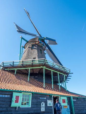 zaan: The historic classic windmill named De Kat (The Cat) in Zaan Schans, Netherlands