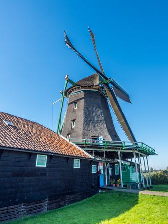 zaan: The historic classic windmill named De Zoeker (The Seeker) in Zaan Schans, Netherlands