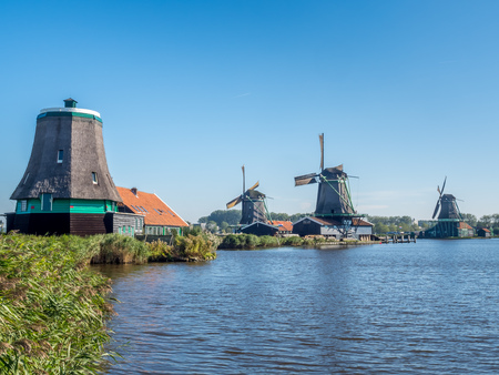 zaan: Historic classic windmills in Zaan Schans under blue sky, Netherlands