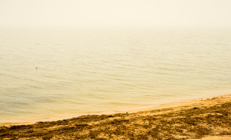 volendam: Coast line and beach with sea view in Volendam, Netherlands, under foggy blurring atmosphere