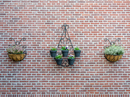 flower baskets: Flower baskets hang on brick wall for background Stock Photo