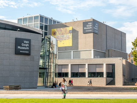outstanding: AMSTERDAM - OCTOBER 3: Van Gogh museum building outstanding with design architectured in Amsterdam, Netherlands, on October 3, 2015. Editorial