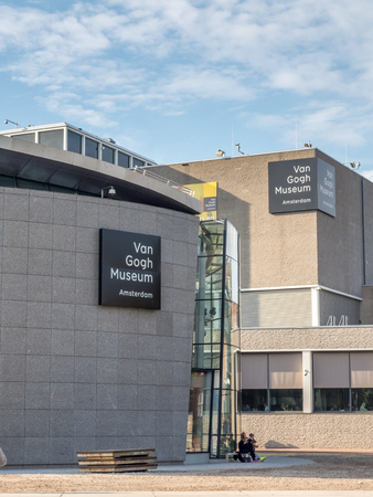 van gogh: AMSTERDAM - OCTOBER 3: Van Gogh museum building outstanding with design architectured in Amsterdam, Netherlands, on October 3, 2015. Editorial
