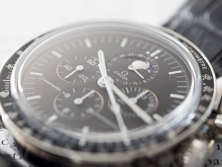 chronograph: BANGKOK - MAY 31: Omega Speedmaster 1866 chronograph with moon phase black dial, one of the most favorite luxury watch