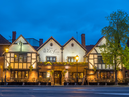 STRATFORD - MAY 19: Stratford upon the Avon city scene under twilight cloudy sky in England, was taken on May 19, 2016. Editorial